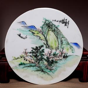 藏海淘 完好民国山水风光粉彩圆瓷板 HX40