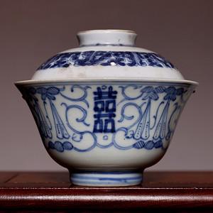 藏海淘 明成化年造款青花盖碗 HX83