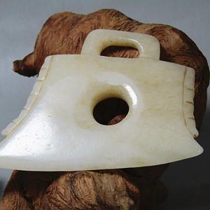 明和田白玉 出戟玉斧 料质极佳 包浆沁色到代