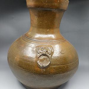 汉代黄铺首陶壶釉
