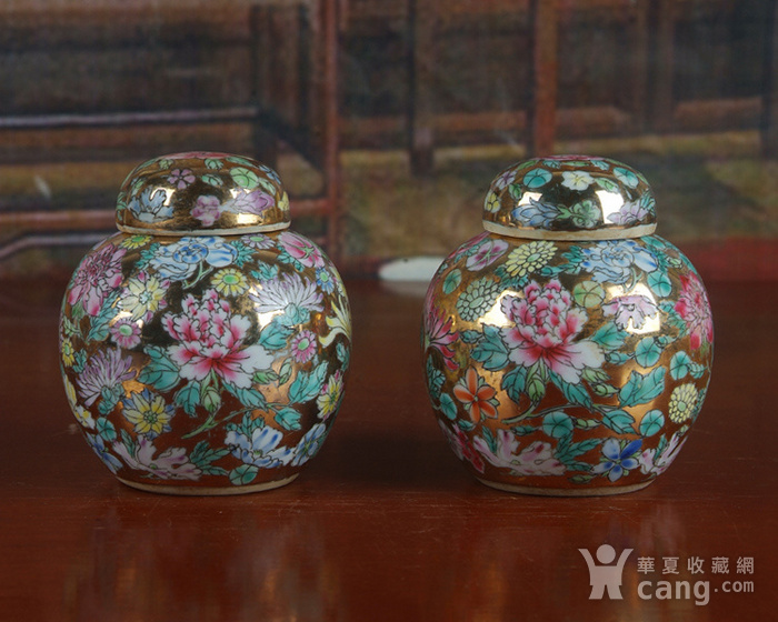 全手工彩绘金地万花宝珠坛一对 茶叶罐图2