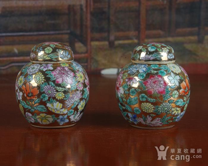 全手工彩绘金地万花宝珠坛一对 茶叶罐图3