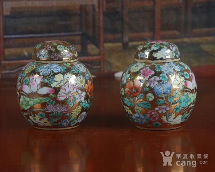 全手工彩绘金地万花宝珠坛一对 茶叶罐图4