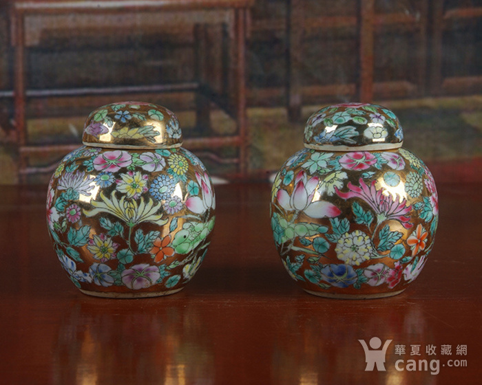 全手工彩绘金地万花宝珠坛一对 茶叶罐图5