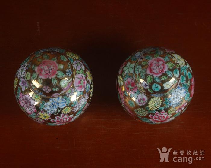 全手工彩绘金地万花宝珠坛一对 茶叶罐图6