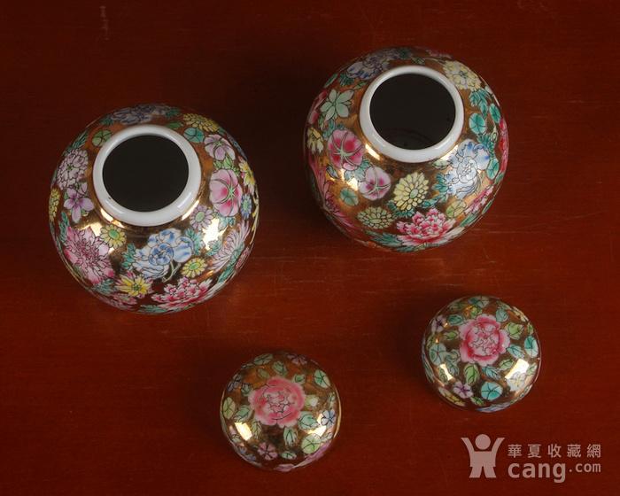 全手工彩绘金地万花宝珠坛一对 茶叶罐图7