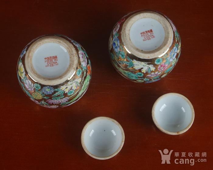 全手工彩绘金地万花宝珠坛一对 茶叶罐图8