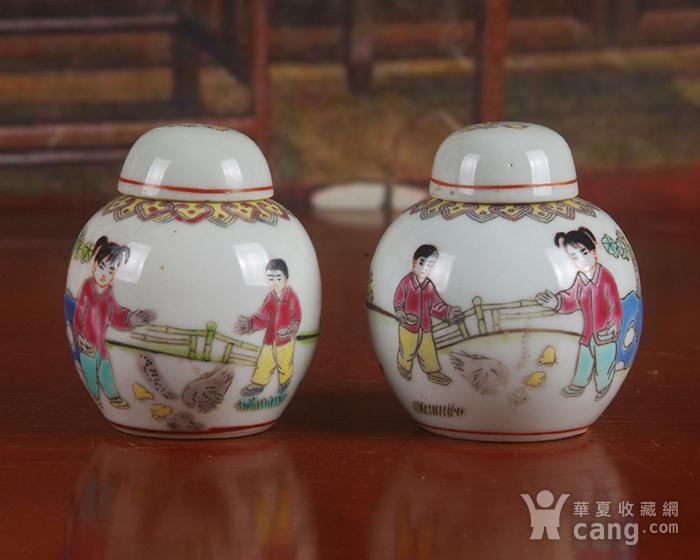 景德镇文革期间老厂瓷器 全手工彩绘婴戏图宝珠坛一对 中号 图2