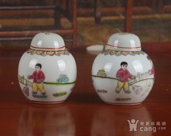 景德镇文革期间老厂瓷器 全手工彩绘婴戏图宝珠坛一对 中号 图5