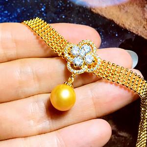 完美金珠!纯天然大颗正圆金色珍珠精品镀18K黄金腕表手链!