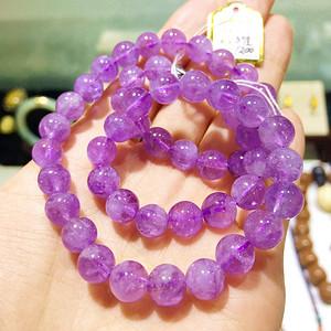 美艳紫晶!纯天然无优化薰衣草紫水晶浪漫紫罗兰精品圆珠水晶项链