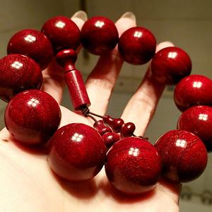 天然印度小叶紫檀鸡血红爆满金星21MM大珠佛珠手串