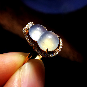 完美小灯泡玻璃种钻戒!18K金镶35钻石天然A货翡翠福禄戒指