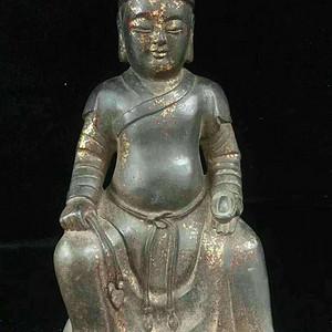 回流纯铜鎏金财神造像