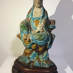 明代三彩瓷雕送子观音