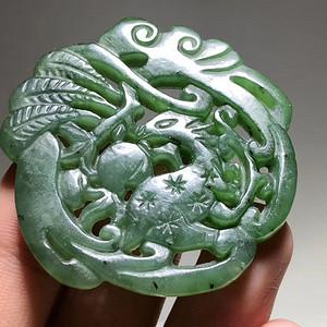 清 和田碧玉 菠菜绿 双面雕刻 福禄寿 挂件 工艺精美 意义好 颜色漂