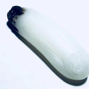 苏工 大师工艺 清廉 新疆和田籽料 一级羊脂白 带乌鸦皮 俏色巧雕