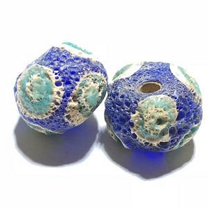 战汉 蓝色 琉璃 蜻蜓眼 一对 工艺复杂 皮克风华清晰 保存好
