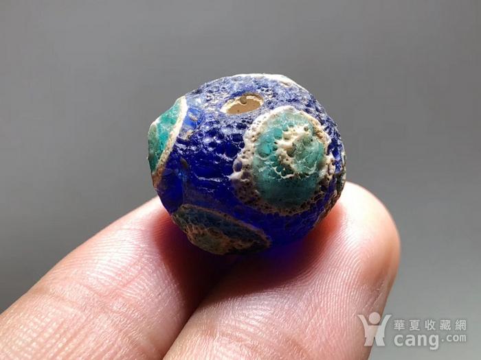 战汉 蓝色 琉璃 蜻蜓眼 一对 工艺复杂 皮克风华清晰 保存好图6