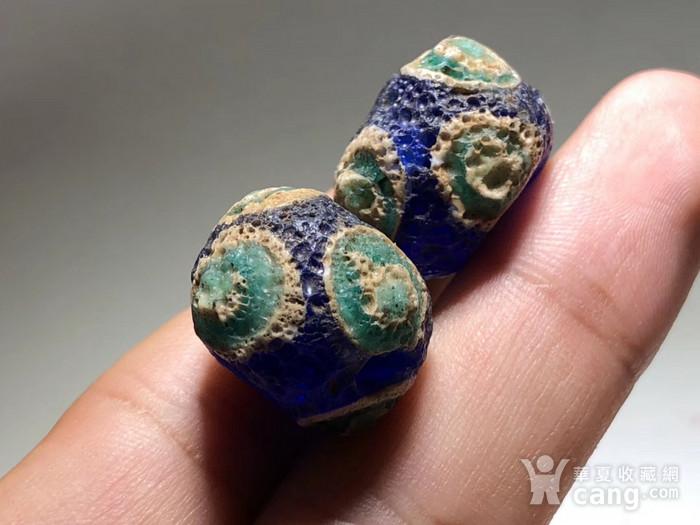 战汉 蓝色 琉璃 蜻蜓眼 一对 工艺复杂 皮克风华清晰 保存好图5