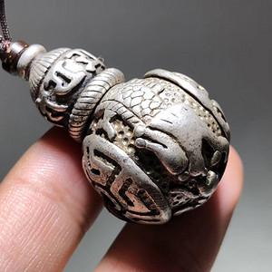 民国 藏传 银制 龙图腾 带六字真言 佛头 工艺精美 包浆老厚