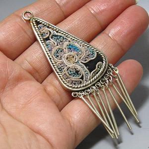 民国 艺人手工民族风  刺绣 纯银镶嵌吊坠