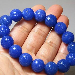 民国 宝石蓝玛瑙 如意纹饰 圆珠手串