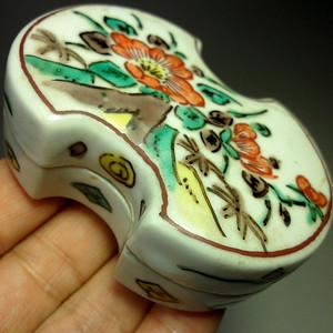 日本回流民国五彩花卉纹九谷瓷盖盒!