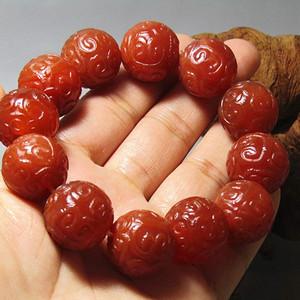 欧洲回流 南红玛瑙 如意纹饰 圆珠手串