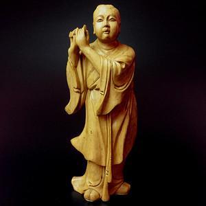 创汇期老黄杨木精雕吹笛童子像!