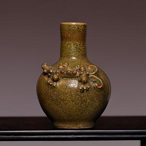 藏海淘 清瓷雕茶叶末小瓶 HX05