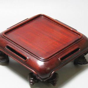 民国 老红木 手工一体雕刻 文玩底座 线条流畅