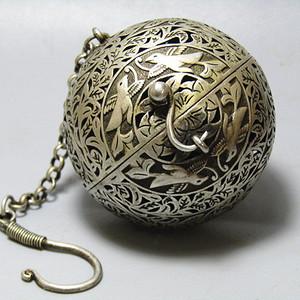 唐代 喜上眉梢 银质 熏香球 包浆醇厚 平衡原理 古人智慧超群
