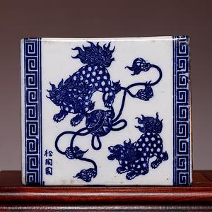 藏海淘 100年前青花瑞兽图瓷方枕 HX77