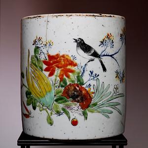 藏海淘 民国粉彩花鸟纹笔筒 HX95