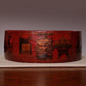 藏海淘 开门清中描金大红漆器盒 HX116