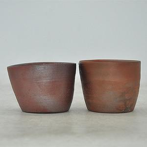 日本茶道備前烧茶碗两个