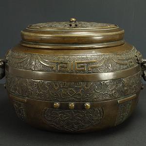 清代 镂空雕 浮雕纹镂空雕 铜香熏炉