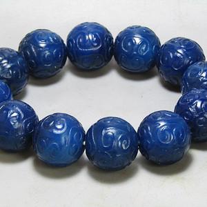 回流 宝石蓝玛瑙 如意头纹饰 圆珠 手串 精美莹润