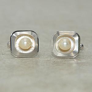 镶珍珠袖扣一副12.3克