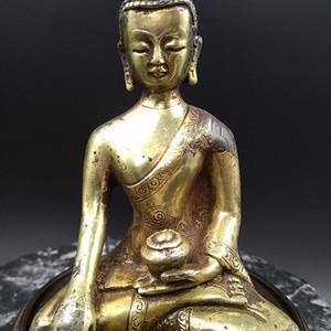 清代鎏金 释迦牟尼佛造像