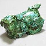 民国绿松石 旺财 摆件 手工雕刻 瓷度好