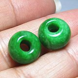 晚清 满绿 翡翠珠 两颗 种水极佳