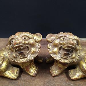 清代 老黄杨木雕 对狮