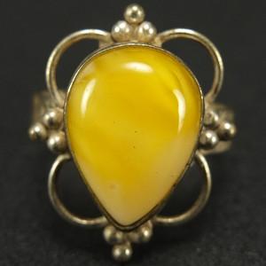 天然原矿925银镶嵌鸡油黄蜜蜡 戒指