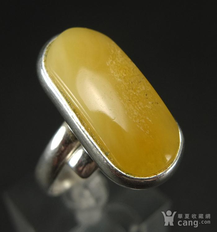 原矿925银镶嵌 波罗的海鸡油黄蜜蜡戒指图2