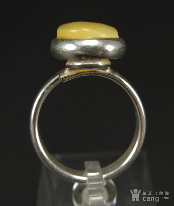 原矿925银镶嵌 波罗的海鸡油黄蜜蜡戒指图4