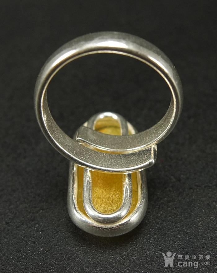 原矿925银镶嵌 波罗的海鸡油黄蜜蜡戒指图6