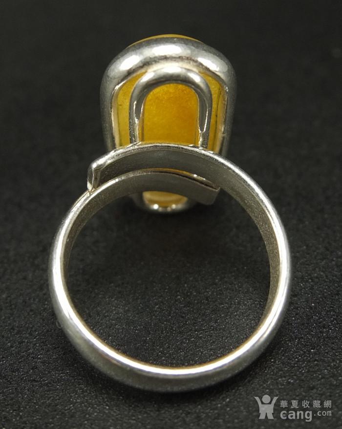 原矿925银镶嵌 波罗的海鸡油黄蜜蜡戒指图7
