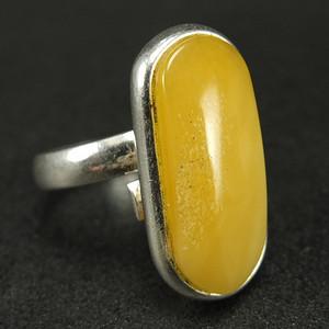 原矿925银镶嵌 波罗的海鸡油黄蜜蜡戒指